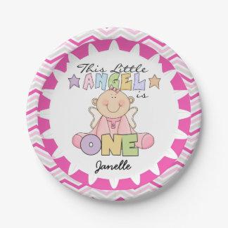 Angel Baby Girl 1st Birthday Paper Plates