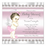 Angel Baby Shower Pink and Gray 5.25x5.25 Square Paper Invitation Card