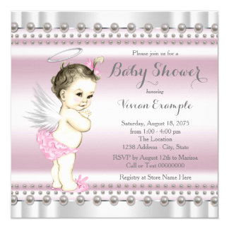 Angel Baby Shower Pink and Gray Invitation