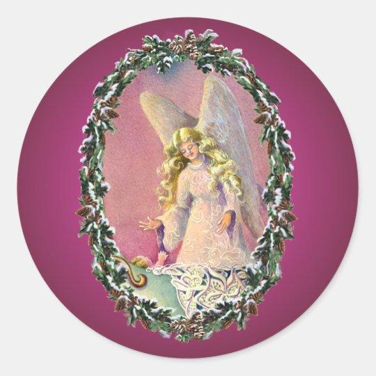 ANGEL, BABY & WREATH by SHARON SHARPE Classic Round Sticker