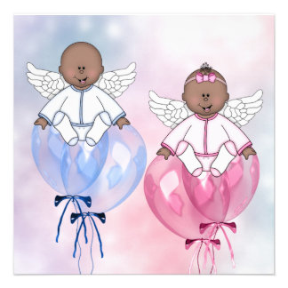 Angel Balloons African American Gender Reveal Invitations