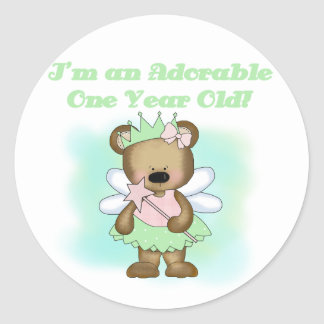 Angel Bear 1st Birthday Tshirts and Gifts Classic Round Sticker