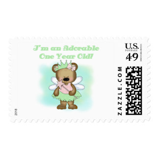 Angel Bear 1st Birthday Tshirts and Gifts Postage Stamp