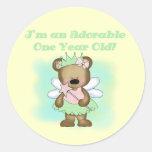 Angel Bear 1st Birthday Tshirts and Gifts Round Sticker