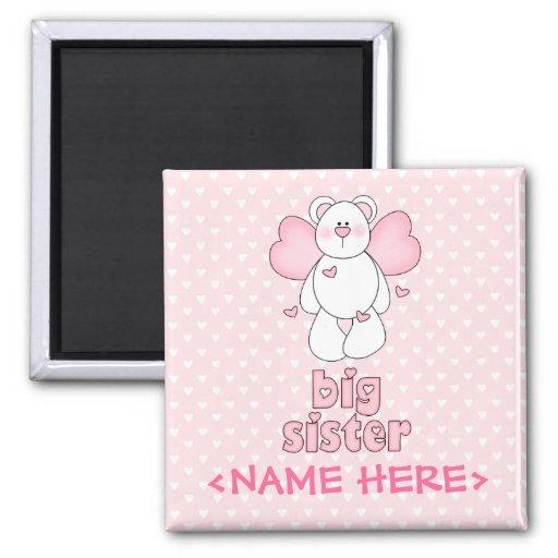 Angel Bear Big Sister 2 Inch Square Magnet