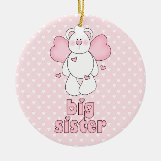 Angel Bear Big Sister Christmas Tree Ornaments