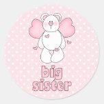 Angel Bear Big Sister Round Stickers