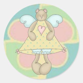 Angel Bear Classic Round Sticker