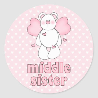 Angel Bear Middle Sister Classic Round Sticker