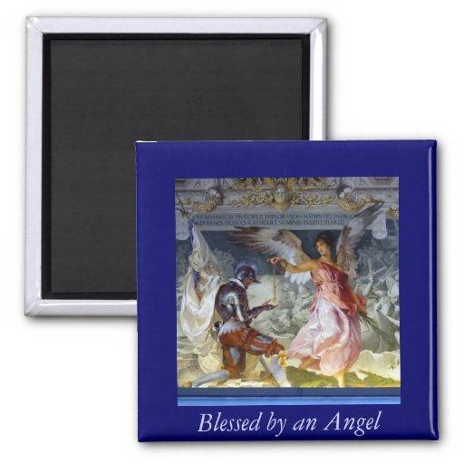Ángel bendecido imán cuadrado