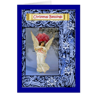 Angel beside a Christmas tree Greeting Card