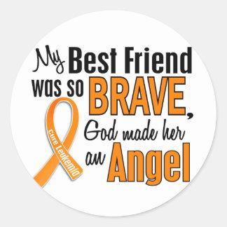 Angel Best Friend (Female) Leukemia Classic Round Sticker