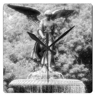 Angel Bethesda Fountain Central Park NYC Square Wall Clocks