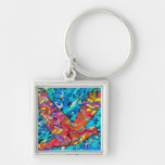 Angel Bird Silver-Colored Square Keychain