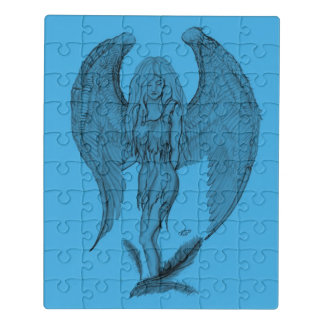 Angel , black and blue design jigsaw puzzle