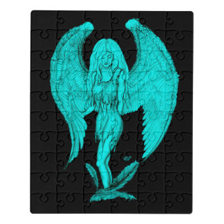 Angel , black and green design jigsaw puzzle