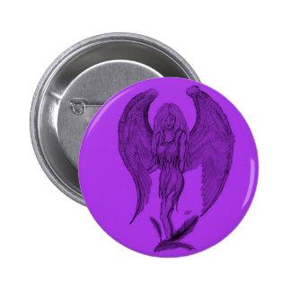 Angel black and purple design button