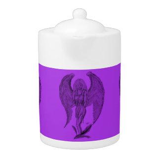 Angel Black and purple design Teapot