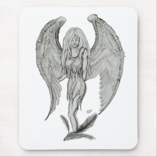 Angel - Black and white Design Mouse Pad