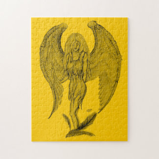 Angel - black and yellow design jigsaw puzzle