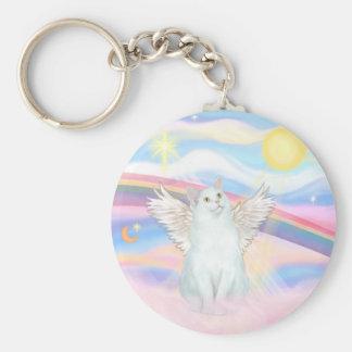 Ángel blanco del gato en nubes llaveros personalizados
