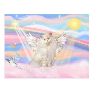 Ángel blanco del gato persa en nubes tarjetas postales