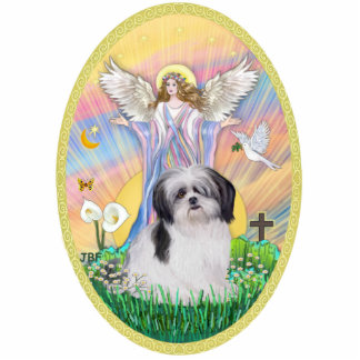 Angel Blessing a Shih Tzu (black and white) Statuette