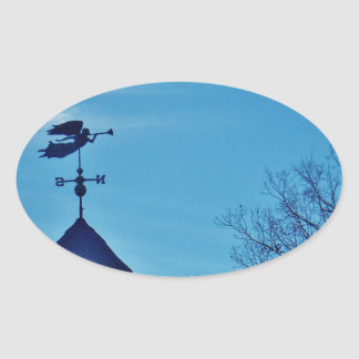 Angel BLOWING HORN WEATHER VANE Oval Sticker