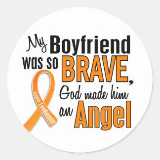 Angel Boyfriend Leukemia Classic Round Sticker