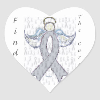 Angel Brain Cancer Ribbon Heart Sticker