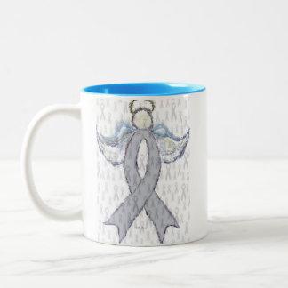 Angel Brain Cancer Ribbon Two-Tone Coffee Mug