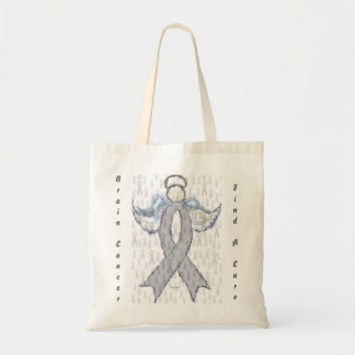 Angel Brain Cancer Ribbon Tote Bag