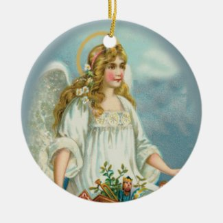 Angel Bringing Toys Vintage Style Holiday Ornament