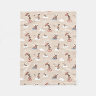 Angel Bunny blanket-bunnies on cloud Fleece Blanket