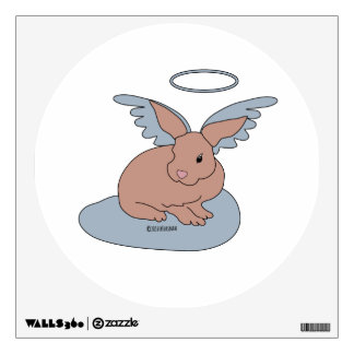 Angel Bunny with halo and wings on cloud Wall Decal