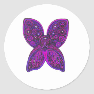 Angel Butterfly in Pink and Purple Classic Round Sticker