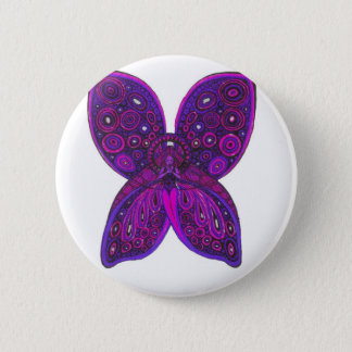 Angel Butterfly in Pink and Purple Pinback Button