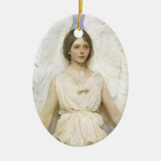 Angel by Abbott Thayer, Vintage Victorian Fine Art Double-Sided Oval Ceramic Christmas Ornament