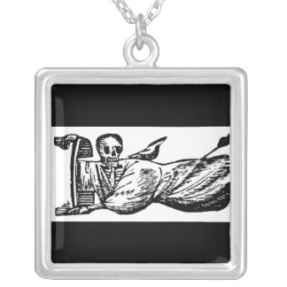 """""""Angel Calavera"""" circa late 1800's Mexico Square Pendant Necklace"""