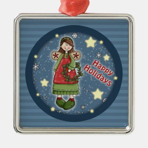 Ángel caprichoso del navidad con la guirnalda ornamentos de reyes magos