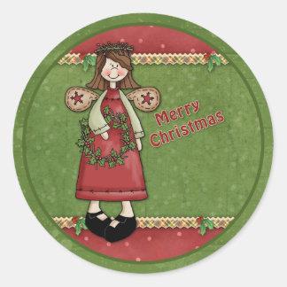 Ángel caprichoso del navidad pegatina redonda