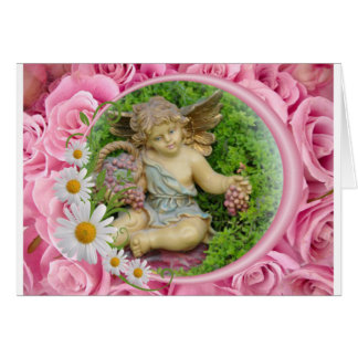 Angel card with roses background swedish text