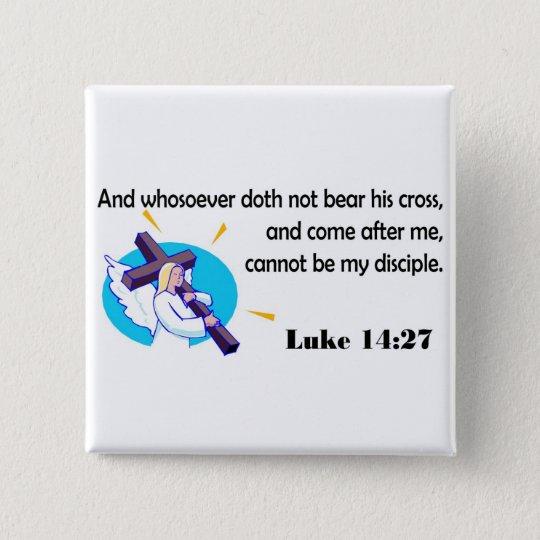 Angel carrying cross Christian design Pinback Button