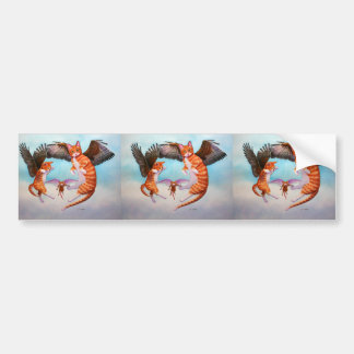Angel Cat and Mouse Game Car Bumper Sticker