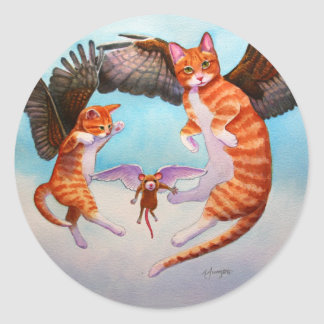 Angel Cat and Mouse Game Classic Round Sticker