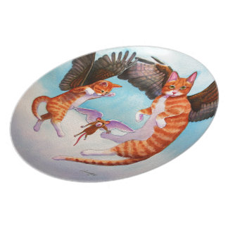 Angel Cat and Mouse Game Dinner Plate