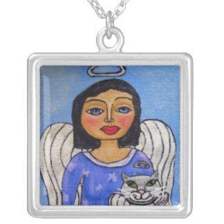Angel Cat Angel on Cloud Folk Art Necklace