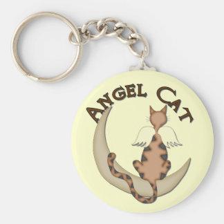 Angel Cat Basic Round Button Keychain