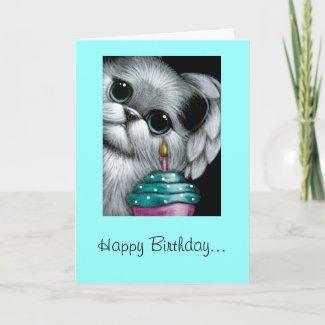 ANGEL CAT BIRTHDAY CUPCAKE Card card