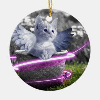 angel cat ceramic ornament